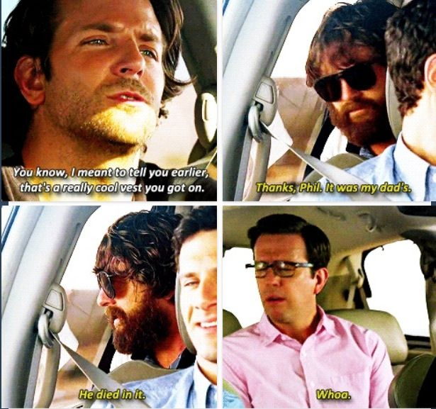 Hangover Movie Quotes Funniest Lines: Bradley Cooper As Phil Compliments Alan's Vest In Hangover 3
