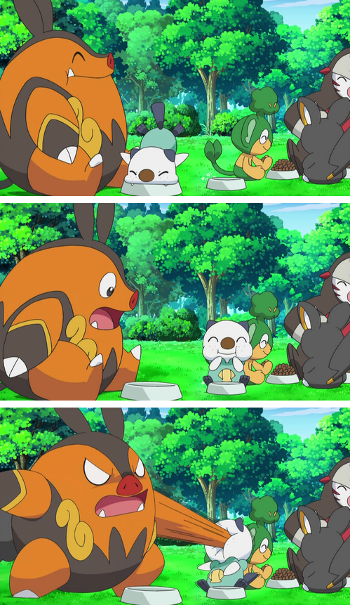 Pignite Uses Punch On Oshawott In Pokemon Black and White Anime pignite uses punch on oshawott in pokemon black and white anime