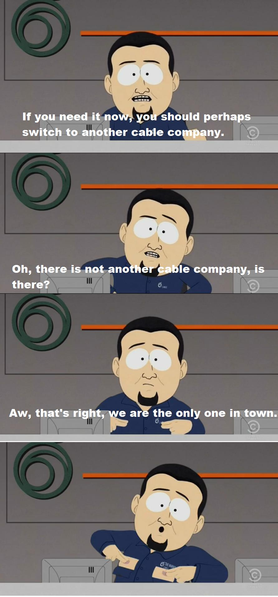 Comcast Quote South Park Makes Fun Of Comcast & Timewarner Cable