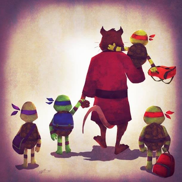 splinter takes the children mutant ninja turtles to school in cute