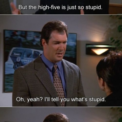David Loves The High Five And Elaine Does Not On Seinfeld