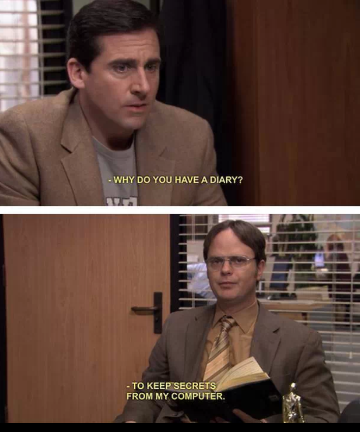 Dwight Schrute Doesnt Trust Computers With Secrets On The Office