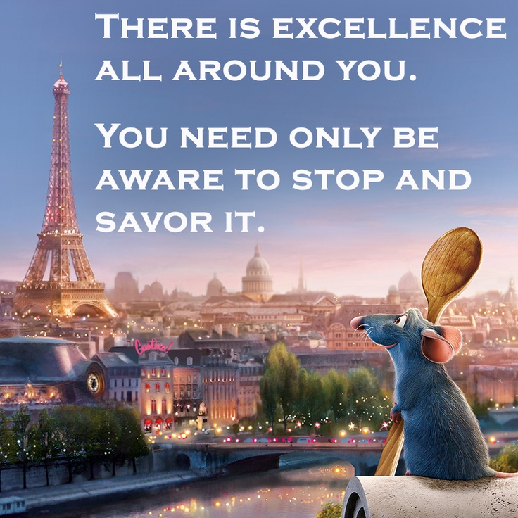 Remy Stops And Looks At The Excellence All Around Him After Cooking A Meal In Ratatouille