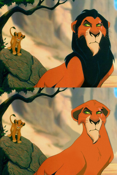 Scar Without a Mane Looks Like Zira From The Lion King Simba's Pride